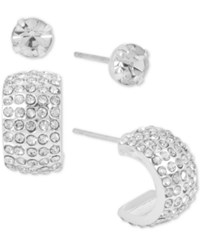 Touch Of Silver Plated 2 Pc. Set Crystal Stud And J Hoop Earrings Silver