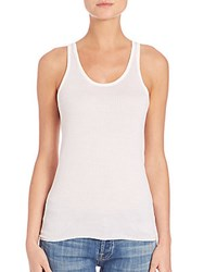 Majestic Filatures Skinny Rib Knit Silk Tank Top Milk