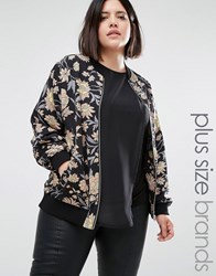 Alice And You Winter Floral Bomber Jacket Black