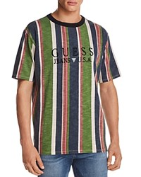 Guess 81 Sayer Stripe Short Sleeve Tee Blue Green Multi