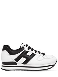 Hogan 50Mm H222 Active Leather Sneakers White Black