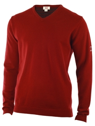 Cutter And Buck Lambswool V Neck Sweater Wine