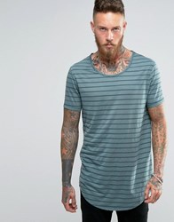 Asos Super Longline T Shirt With Scoop Neck And Curved Hem In Sheer Stripe Murky Blue