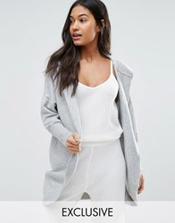 Micha Lounge Hooded Cocoon Cardigan Pale Grey