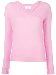 Allude V Neck Jumper Pink Purple