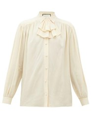 Gucci Ruffle Neck Silk Blouse Ivory