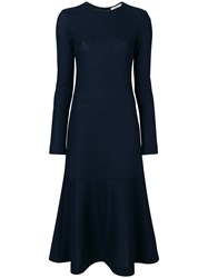Odeeh Slight Flared Dress Polyester Cotton Blue
