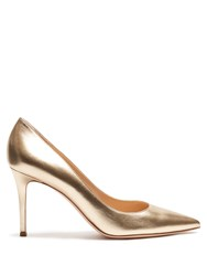 Gianvito Rossi Point Toe Leather Pumps Gold