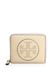 Tory Burch Perforated Logo Medium Leather Zip Wallet Sand Dune