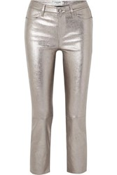 Frame Cropped Metallic Stretch Leather High Rise Straight Leg Pants 30