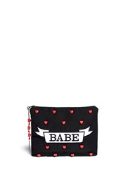 Venessa Arizaga 'Babe' Ceramic Charm Silk Clutch Black