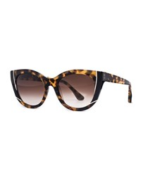 Thierry Lasry Nevermindy Acetate Cat Eye Sunglasses Brown Pattern