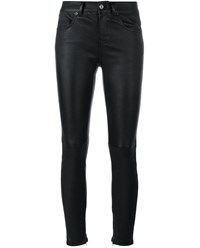 Saint Laurent Slim Fit Leather Trousers Black White