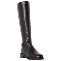 Dune Vawn Heavy Sole Buckle Detail Long Boots Black Leather