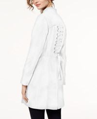 Inc International Concepts I.N.C. Stand Collar Ponte Knit Zip Coat Created For Macy's White