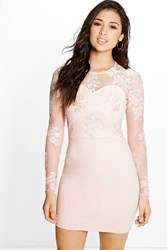 Boohoo Mel Corded Lace Long Sleeve Bodycon Dress Nude