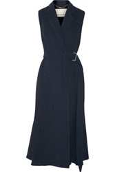 Jason Wu Belted Wool And Silk Blend Twill Wrap Dress Midnight Blue