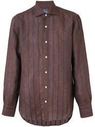 Barba Embroidered Stripe Shirt Men Linen Flax 42 Brown