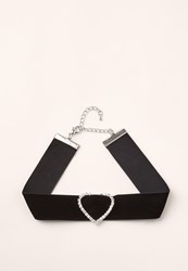 Missguided Black Diamante Heart Choker
