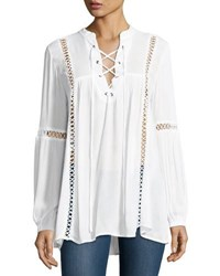 Neiman Marcus Lace Up Crochet Inset Blouse White