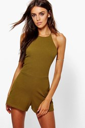 Boohoo High Neck Playsuit Dark Olive