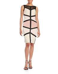 Jax Mesh Accented Bandage Dress Black Pink