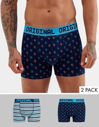 Penguin 2 Pack Underwear In In Navy And Teal Stripes And Check Multi