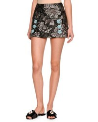 Dolce And Gabbana Floral Brocade Mini Skirt Gray