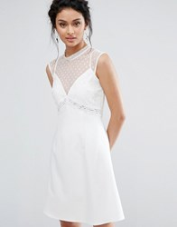 Elise Ryan A Line Dress With Spot Mesh And Lace Bodice Ivory White