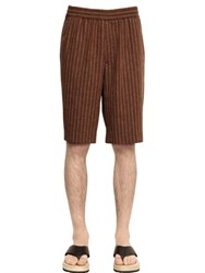 Msgm Pinstripe Linen And Cotton Jacquard Shorts