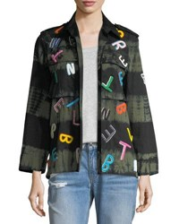 Libertine Tie Dye Army Jacket With Letter Embroidery Multi