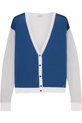 Vionnet Color Block Cotton Blend Cardigan Bright Blue