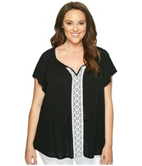 Karen Kane Plus Size Lace Trim Raglan Sleeve Top Black White Women's Short Sleeve Pullover