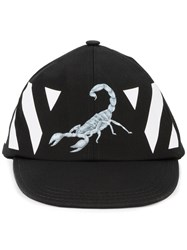 Off White Scorpion Print Cap Men Cotton One Size Black