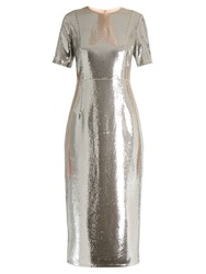 Diane Von Furstenberg Sequin Embellished Pencil Dress Silver