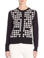 Akris Punto Polka Dot Wool Cardigan Black Cream
