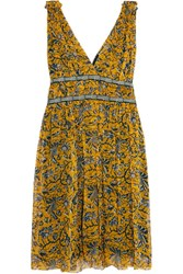 Etoile Isabel Marant Balzan Gathered Printed Silk Georgette Mini Dress Yellow