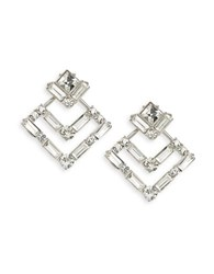 Robert Rose Art Deco Drop Earrings Silver