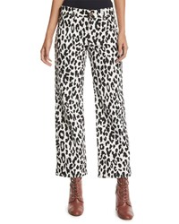 See By Chloe Mid Rise Cropped Leopard Print Jeans White Black