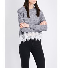 The Kooples Sport Floral Lace Trim Knitted Jumper Gry23
