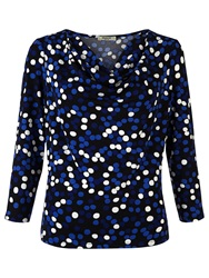 Precis Petite Cowl Neck Spot Print Top Blue Multi