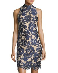 Chetta B Mesh And Lace Mock Neck Sheath Dress Navy