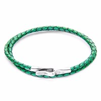 Anchor And Crew Fern Green Liverpool Silver Leather Bracelet