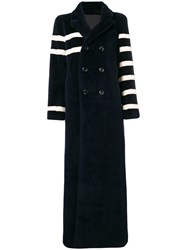 Each X Other Asymmetric Stripe Coat Blue