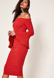 Missguided Red Bardot Frill Sleeve Tailored Midi Dress