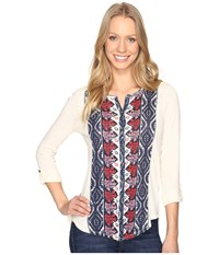 Lucky Brand Placed Print Top Natural Multi Women's Clothing