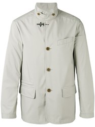 Fay Buttoned High Collar Jacket Nude Neutrals