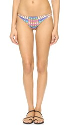 Mara Hoffman Flight Sand Side Strap Bikini Bottoms Peach Multi