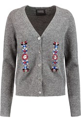 Markus Lupfer Crystal Embellished Knitted Cardigan Gray