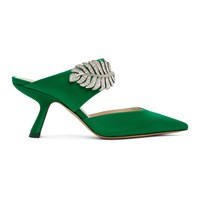 Nicholas Kirkwood Green Satin Monstera Mules